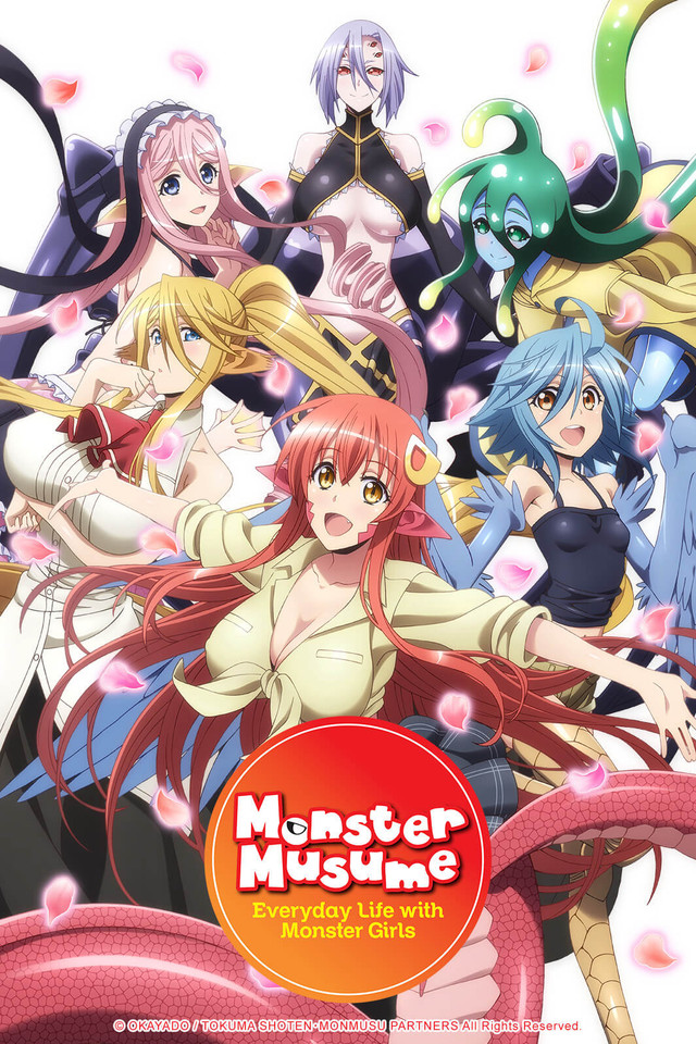 Montser Musume: Everyday Life with Monster Girls anime cover art featuring six monster girls