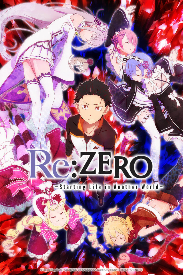 Re:ZERO anime cover art featuring Subaru and some main-supporting characters