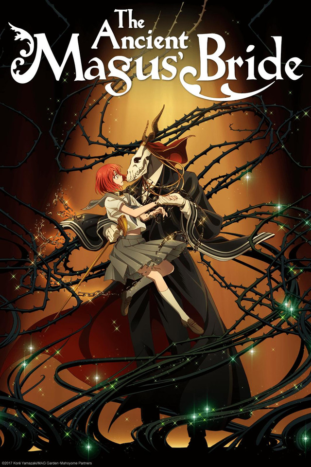 The Ancient Magus' Bride anime cover art featuring Elias and Chise