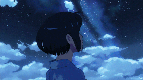 Mitsuha Miyamizu looking at the comet from the anime movie Your Name.