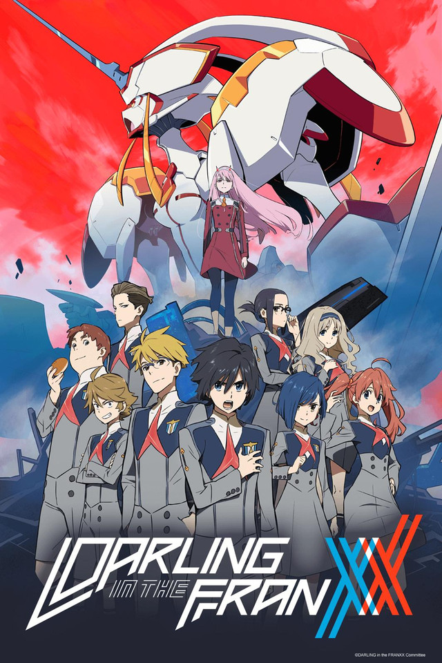Darling in the FranXX anime cover art featuring Squad 13