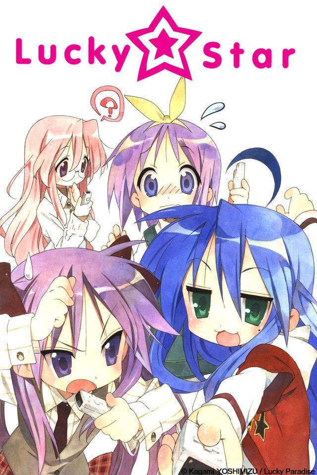 Lucky☆Star anime cover art featuring Konata, Kagami, Tsukasa, and Miyuki