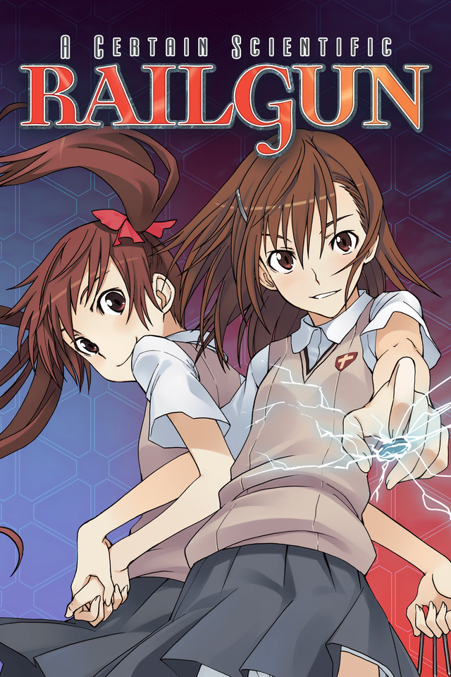 A Certain Scientific Railgun anime cover art featuring Mikoto Misaka and Kuroko Shirai