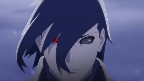 Sasuke Uchiha with both Sharingan and Sharinnegan from the anime Boruto: Naruto the Movie
