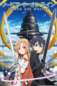 Sword Art Online anime cover art featuring Kirito and Asuna