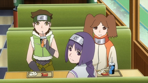 Wasabi, Sumire, and Namida from the anime Boruto: Naruto Next Generations