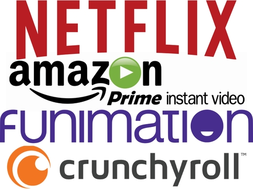 Netflix, Amazon Prime instant video, Funimation, and Crunchyroll logos
