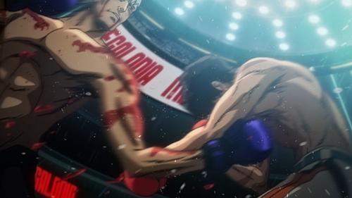 """Gearless"" Joe vs. the champion, Yuuri from the anime Megalo Box"