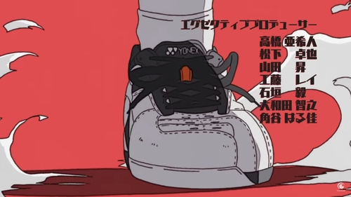 High contrast sneaker frame from a kinetic shot in the Hanebado! anime OP (opening)