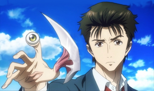 Shinichi Izumi and Migi from the anime Parasyte -the maxim-