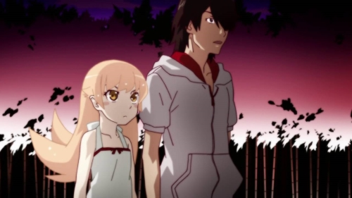Koyomi Araragi and Shinobu Oshino from the Monogatari anime series