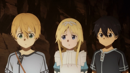 Eugeo, Alice, and Kirito from the anime Sword Art Online: Alicization