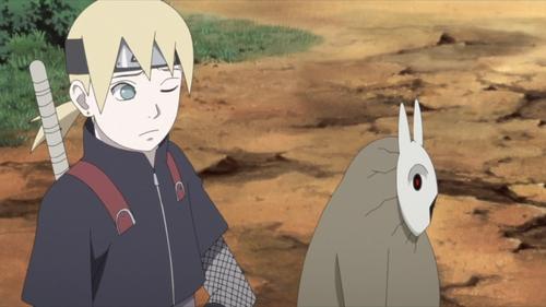 Inojin Yamanaka and the Chibi Akuta from the anime Boruto: Naruto Next Generations