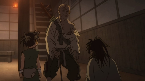 Dororo, Hyakkimaru, and the old priest from the anime series Dororo