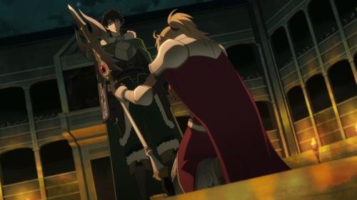 Shield Hero Naofumi Iwatani vs. Spear Hero Motoyasu Kitamura from the anime series The Rising of the Shield Hero
