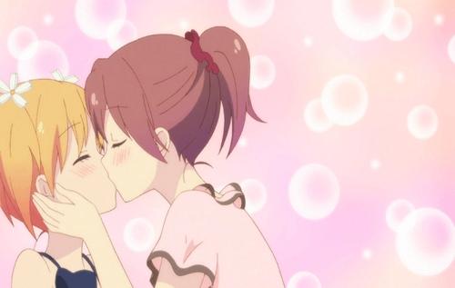 Haruka Takayama and Yuu Sonada from the yuri anime series Sakura Trick