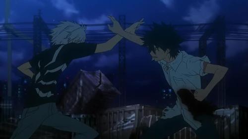 Accelerator vs. Touma Kamijou from the anime series A Certain Scientific Railgun S