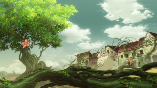 Naofumi, Raphtalia, and Filo vs. The Monster Tree from the anime series The Rising of the Shield Hero