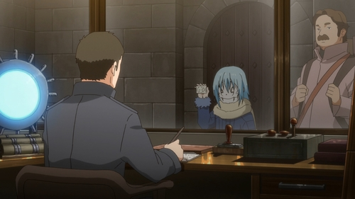 Rimuru showing his ID to a Kingdom of Ingrassia guard from the anime series That Time I Got Reincarnated as a Slime