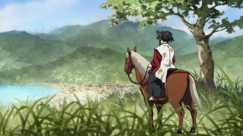 Tahoumaru on his horse from the anime series Dororo