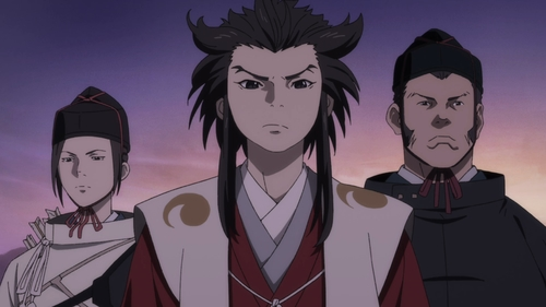 Tahoumaru and his guards, Mutsu (left) and Hyogo (right) from the anime series Dororo