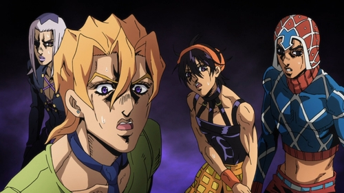Abbacchio, Fugo, Narancia, and Mista from the anime series JoJo's Bizarre Adventure Part 5: Golden Wind
