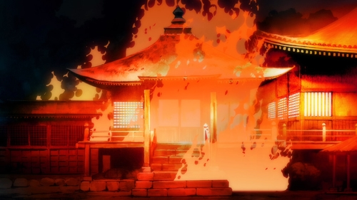 The temple burning from the anime series Dororo