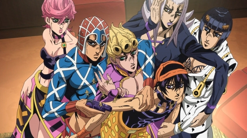 Trish, Mista, Giorno, Narancia, Abbacchio, and Buccellati from the anime series JoJo's Bizarre Adventure Part 5: Golden Wind