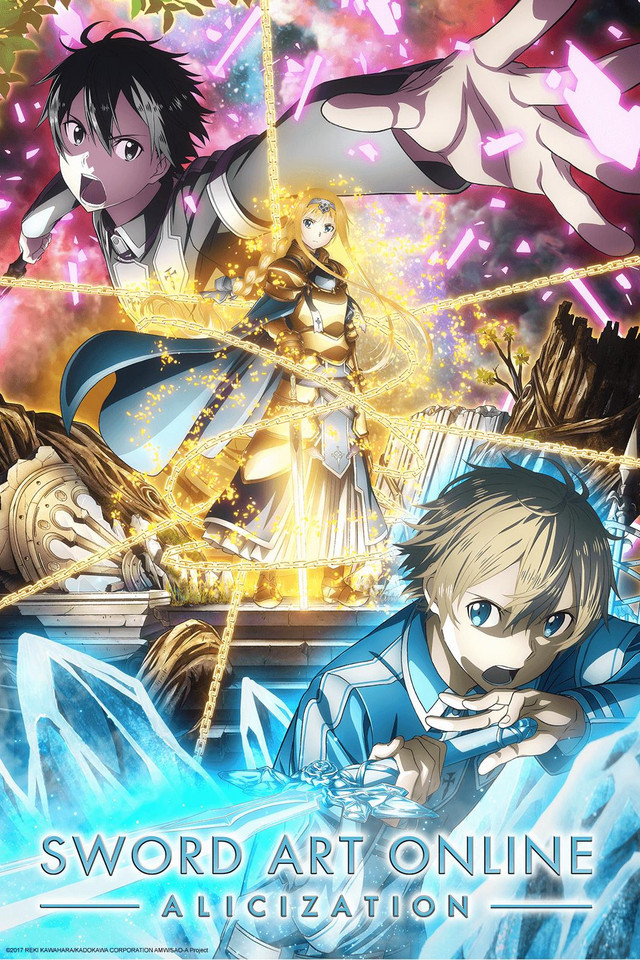 Sword Art Online: Alicization anime series cover art featuring Kirito, Alice, and Eugeo