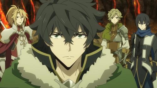 Naofumi, Motoyasu, Itsuki, and Ren from the anime series The Rising of the Shield Hero