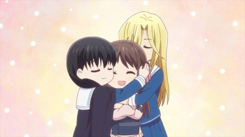 Tooru, Hana, and Uo from the anime series Fruits Basket