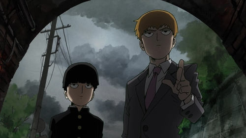 "Shigeo ""Mob"" Kageyama and Arataka Reigen from the anime series Mob Psycho 100"