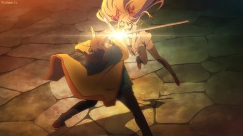 Tilarna Exedilica vs Dennis Elbaji from the anime series Cop Craft