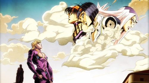 Giorno looking up at Buccellati, Abbacchio, and Narancia from the anime series JoJo's Bizarre Adventure Part 5: Golden Wind