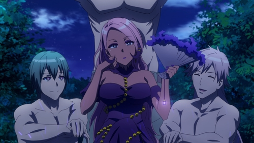 Kazuno, the Empress of Night, on her thrown of men from the anime series Do You Love Your Mom and Her Two-Hit Multi-Target Attacks?