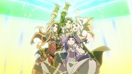 Naofumi's party from the anime series The Rising of the Shield Hero