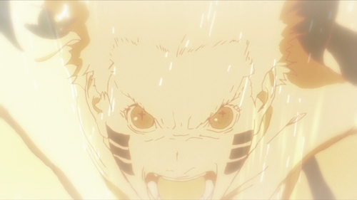 Naruto using his sage mode and nine-tails cloak from the anime series Boruto: Naruto Next Generations
