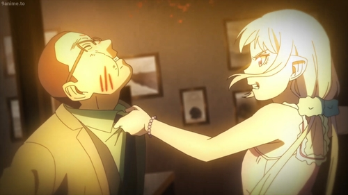 Tilarna beating up a hitman from the anime series Cop Craft