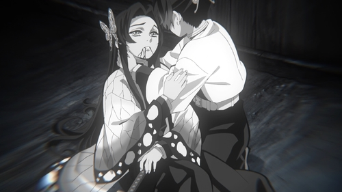 Shinobu's older sister dying from the anime series Demon Slayer: Kimetsu no Yaiba