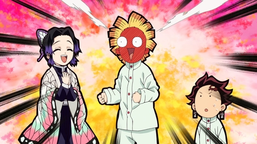Shinobu, Zenitsu, and Tanjirou from the anime series Demon Slayer: Kimetsu no Yaiba