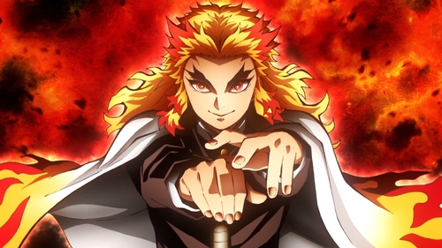Flame Hashira Kyoujurou Rengoku from the anime series Demon Slayer: Kimetsu no Yaiba