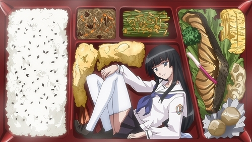 Ume Shiraume in a bento box from the anime series Ben-To