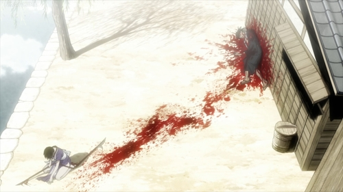 Makie defeating Manji from the anime series Blade of the Immortal