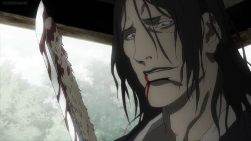 Eiku Shizuma holding his knife from the anime series Blade of the Immortal
