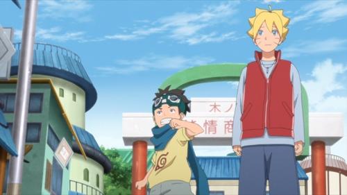 Konohamaru and Boruto from the anime series Boruto: Naruto Next Generations