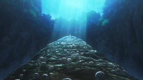The Ishigami Village cemetery from the anime series Dr. Stone