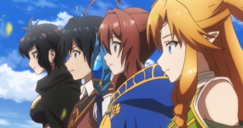 Myura, Rin, Taichi, and Lemia from the anime series Isekai Cheat Magician
