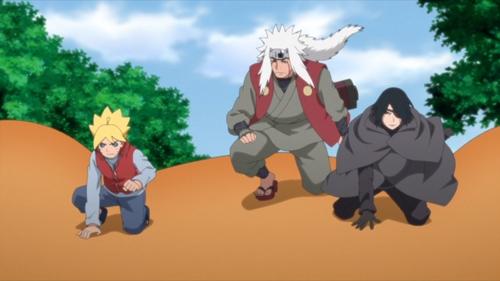 Boruto, Jiraiya, and Sasuke riding on a giant toad from the anime series Boruto: Naruto Next Generations