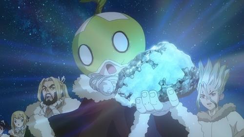 Suika holding scheelite from the anime series Dr. Stone