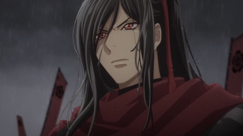 An older Nobunaga leading his army in the rain from the anime series Gorgeous Butterfly: Young Nobunaga